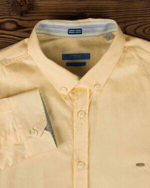 پیراهن مردانه ساده نخی - لیمویی - یقه مردانه