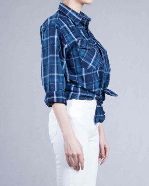پیراهن چهارخانه دخترانه اسپرت - آبی - بغل
