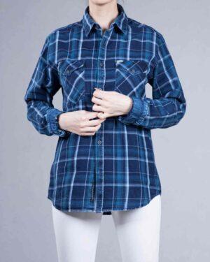 پیراهن چهارخانه دخترانه اسپرت - آبی - رو به رو