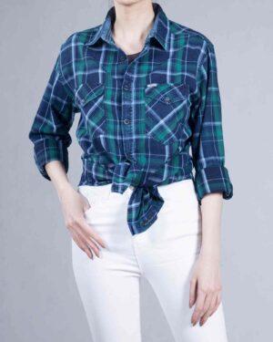 پیراهن چهارخانه دخترانه اسپرت - سبز - گره دار