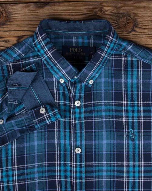پیراهن چهارخانه ریز مردانه - آبی روشن - یقه آستین