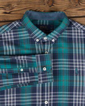 پیراهن چهارخانه ریز مردانه - سبز دریایی - یقه آستین