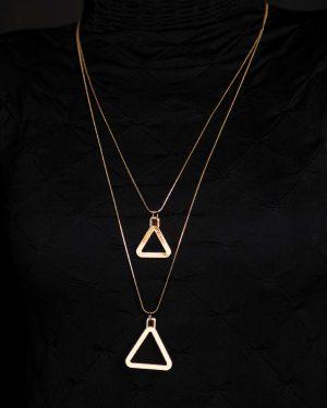 گردنبند آویز مثلث طلایی - طلایی - رو به رو