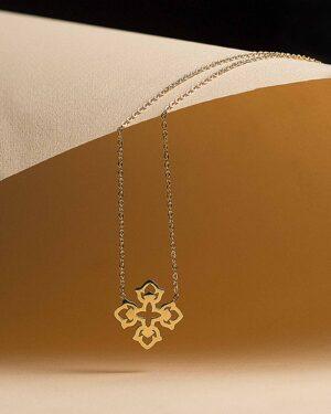 گردنبند طرح صلیب طلایی - طلایی - استیل