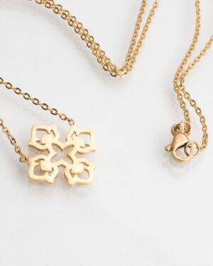 گردنبند طرح صلیب طلایی - طلایی - گردنبند زنانه