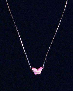 گردنبند طرح پروانه زنانه - صورتی - رو به رو