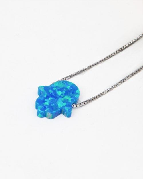 گردنبند فانتزی دخترانه نقره - آبی روشن - آویز فانتزی