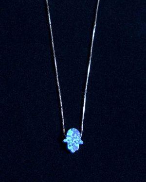 گردنبند فانتزی دخترانه نقره - آبی روشن - رو به رو