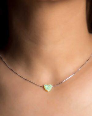 گردنبند مدل قلب زنانه - سبز شبرنگ - گردنبند نقره طرح قلب
