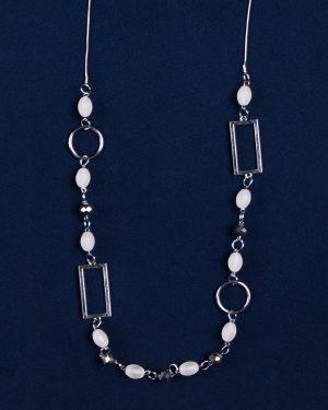 گردنبند مهره سنگی حلقه دار - نقره ای - رو به رو