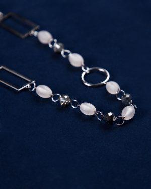 گردنبند مهره سنگی حلقه دار - نقره ای - مهره سنگ