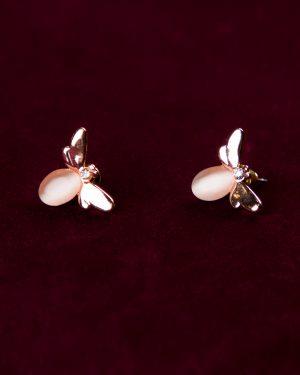 گوشواره دخترانه طرح زنبور - هلویی سیر - گوشواره