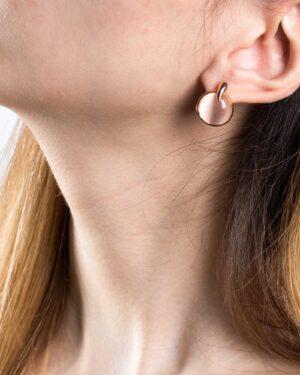 گوشواره میخی تک نگین - هلویی سیر - گوشواره رزگلد زنانه