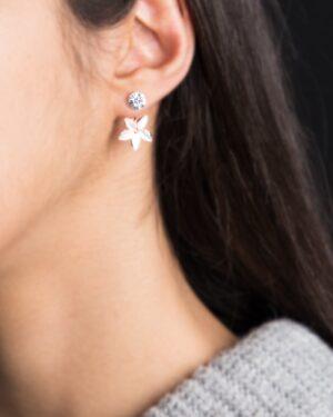 گوشواره نگین دار طرح گل - سفید - زنانه