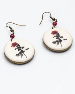 گوشواره چوبی طرح گل - سفید - گوشواره زنانه