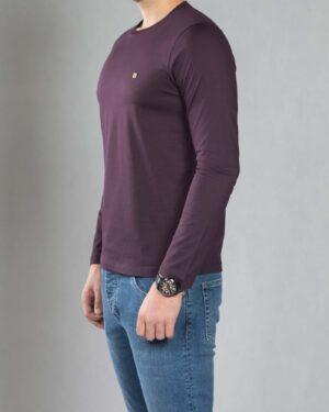بلوز آستین بلند ساده مردانه - بادمجانی - بغل