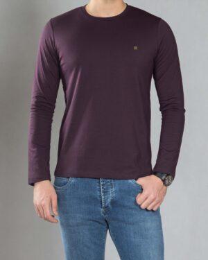 بلوز آستین بلند ساده مردانه - بادمجانی - رو به رو