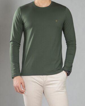 بلوز آستین بلند ساده مردانه - سبز تیره - رو به رو