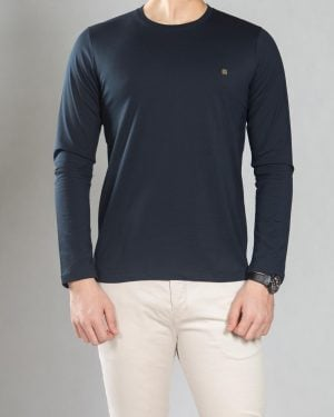 بلوز آستین بلند ساده مردانه - سرمه ای تیره - رو به رو