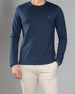 بلوز آستین بلند ساده مردانه - سرمه ای - رو به رو