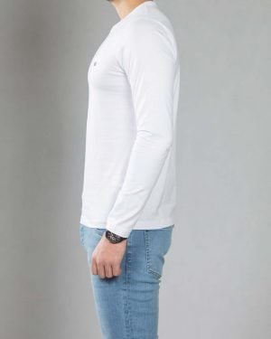 بلوز آستین بلند ساده مردانه - سفید - بغل