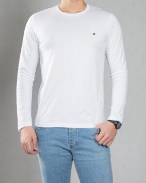 بلوز آستین بلند ساده مردانه - سفید - رو به رو