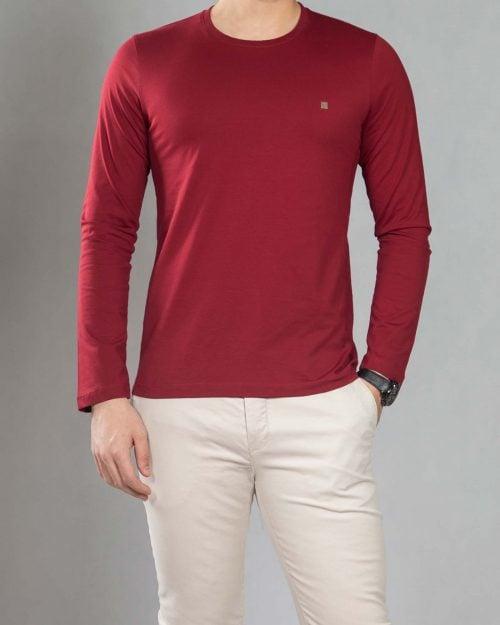 بلوز آستین بلند ساده مردانه - شرابی - رو به رو