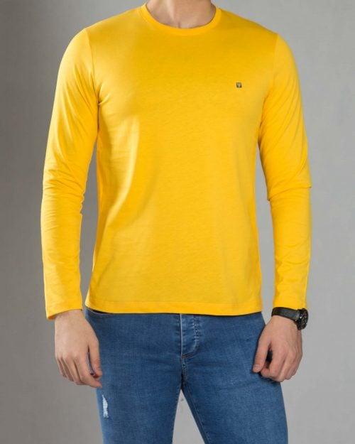 بلوز آستین بلند ساده مردانه - عسلی - رو به رو