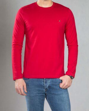 بلوز آستین بلند ساده مردانه - قرمز - رو به رو