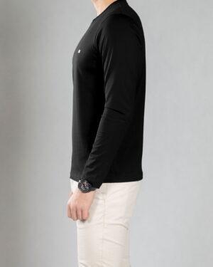 بلوز آستین بلند ساده مردانه - مشکی - بغل