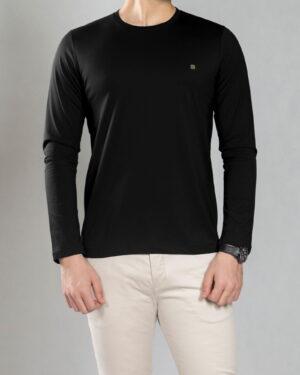 بلوز آستین بلند ساده مردانه - مشکی - رو به رو