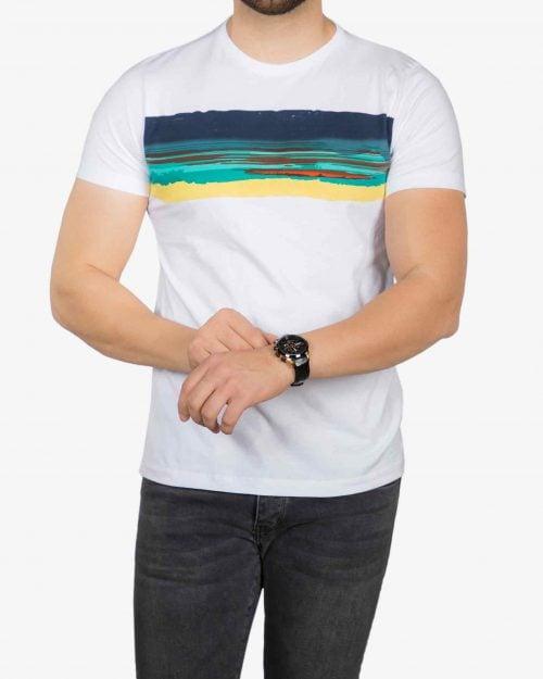 تیشرت سفید طرح دار مردانه - سفید - رو به رو