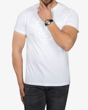 تیشرت طرح برجسته مردانه - سفید - رو به رو