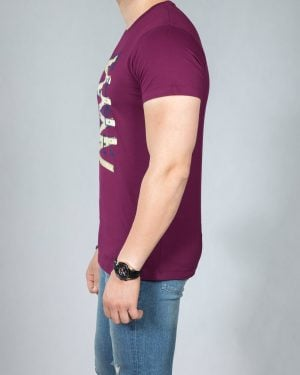 تیشرت طرح دار مردانه - بنفش - بغل