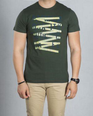 تیشرت طرح دار مردانه - سبز ارتشی - رو به رو