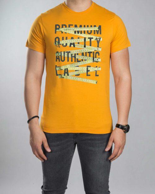 تیشرت طرح دار مردانه - نارنجی - رو به رو