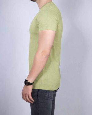 تیشرت نخی مردانه ساده - زیتونی - بغل
