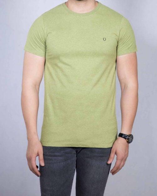 تیشرت نخی مردانه ساده - زیتونی - رو به رو