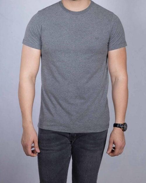 تیشرت نخی مردانه ساده طوسی - ملانژ پر رنگ - رو به رو