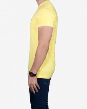 تیشرت نخی مردانه ساده - لیمویی - بغل