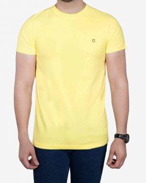 تیشرت نخی مردانه ساده - لیمویی - رو به رو
