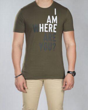 تیشرت نوشته دار مردانه - زیتونی سیر - رو به رو
