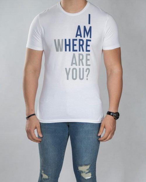 تیشرت نوشته دار مردانه - سفید - رو به رو