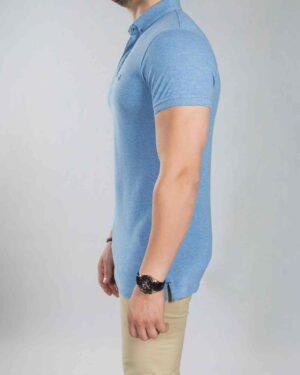 تیشرت یقه دار ساده مردانه آبی - آبی روشن - بغل
