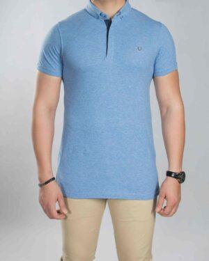 تیشرت یقه دار ساده مردانه آبی - آبی روشن - رو به رو