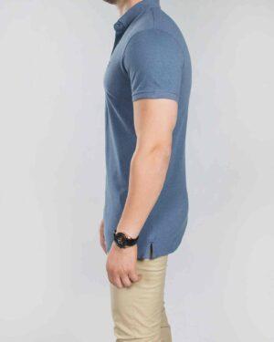 تیشرت یقه دار ساده مردانه آبی - سرمه ای - بغل
