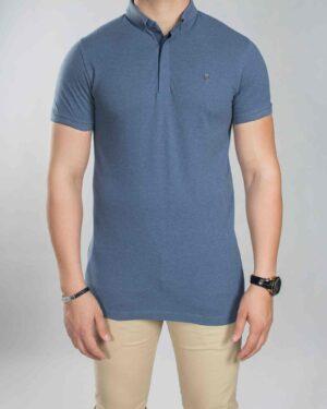 تیشرت یقه دار ساده مردانه آبی - سرمه ای - رو به رو