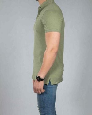 تیشرت یقه دار ساده مردانه - زیتونی - بغل