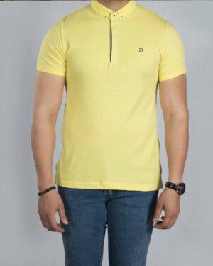 تیشرت یقه دار ساده مردانه - لیمویی - رو به رو