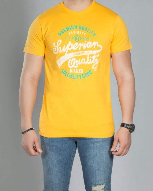 تی شرت مردانه طرح دار - عسلی - رو به رو